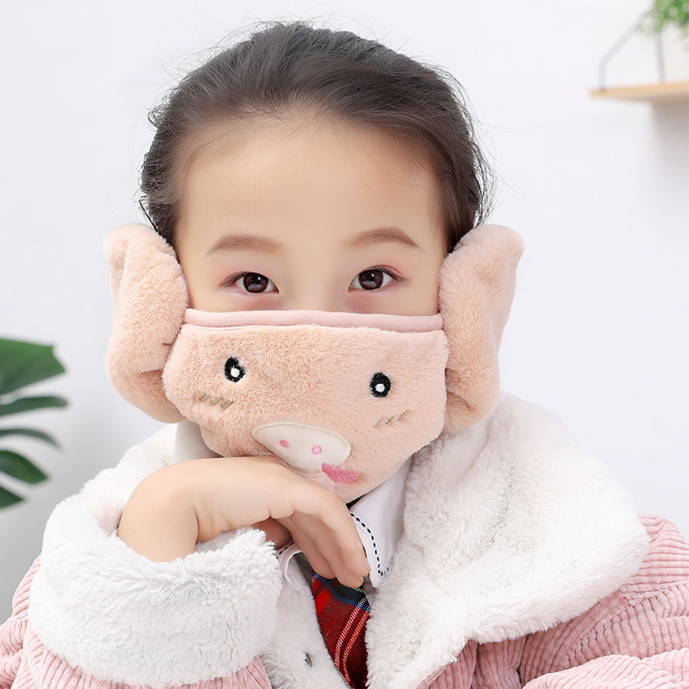 Kid 2-in-1 Warm Mask Earmuffs Cartoon Autumn Winter Thicken Plush Riding Outdoor Wear Khaki_One size
