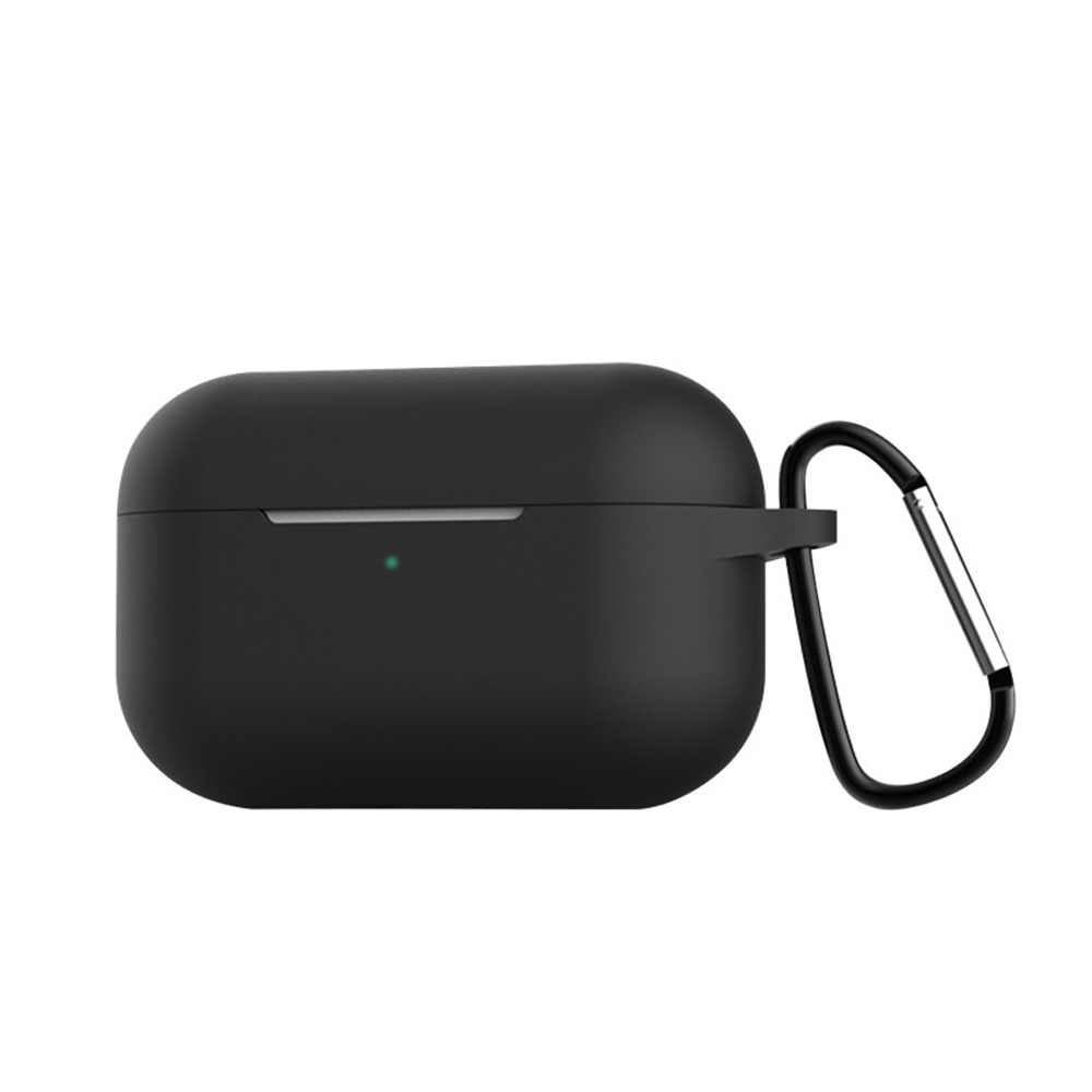 Silicone Cases for Airpods Pro Earphones All-round Protective Cover Headset Storage Box Shockproof Shell With Carabiner Black