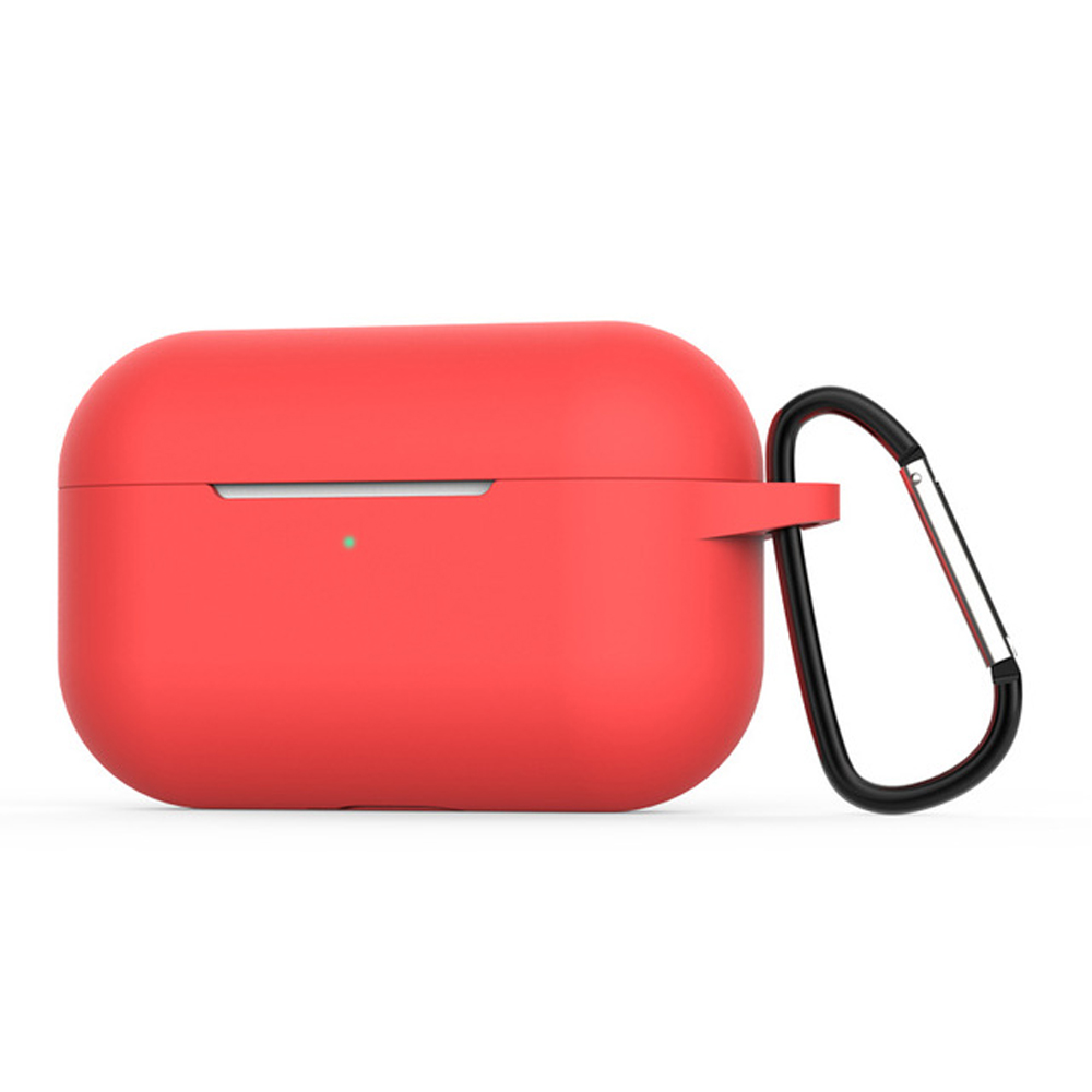 Silicone Cases for Airpods Pro Earphones All-round Protective Cover Headset Storage Box Shockproof Shell With Carabiner Red