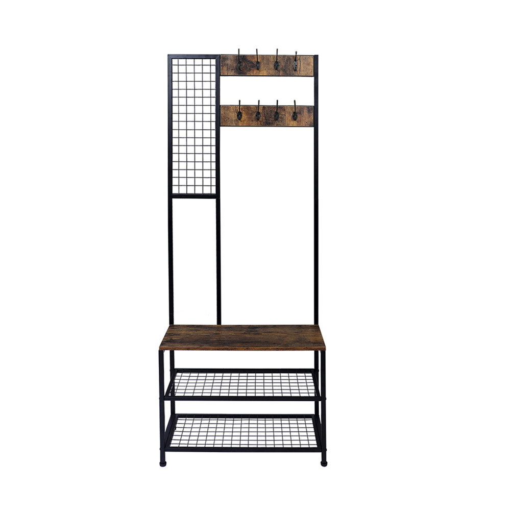 [US Direct] 2 In 1 Coat  Rack With 2 Layer Mesh Clothes Organizer With Hooks Household Holder brown