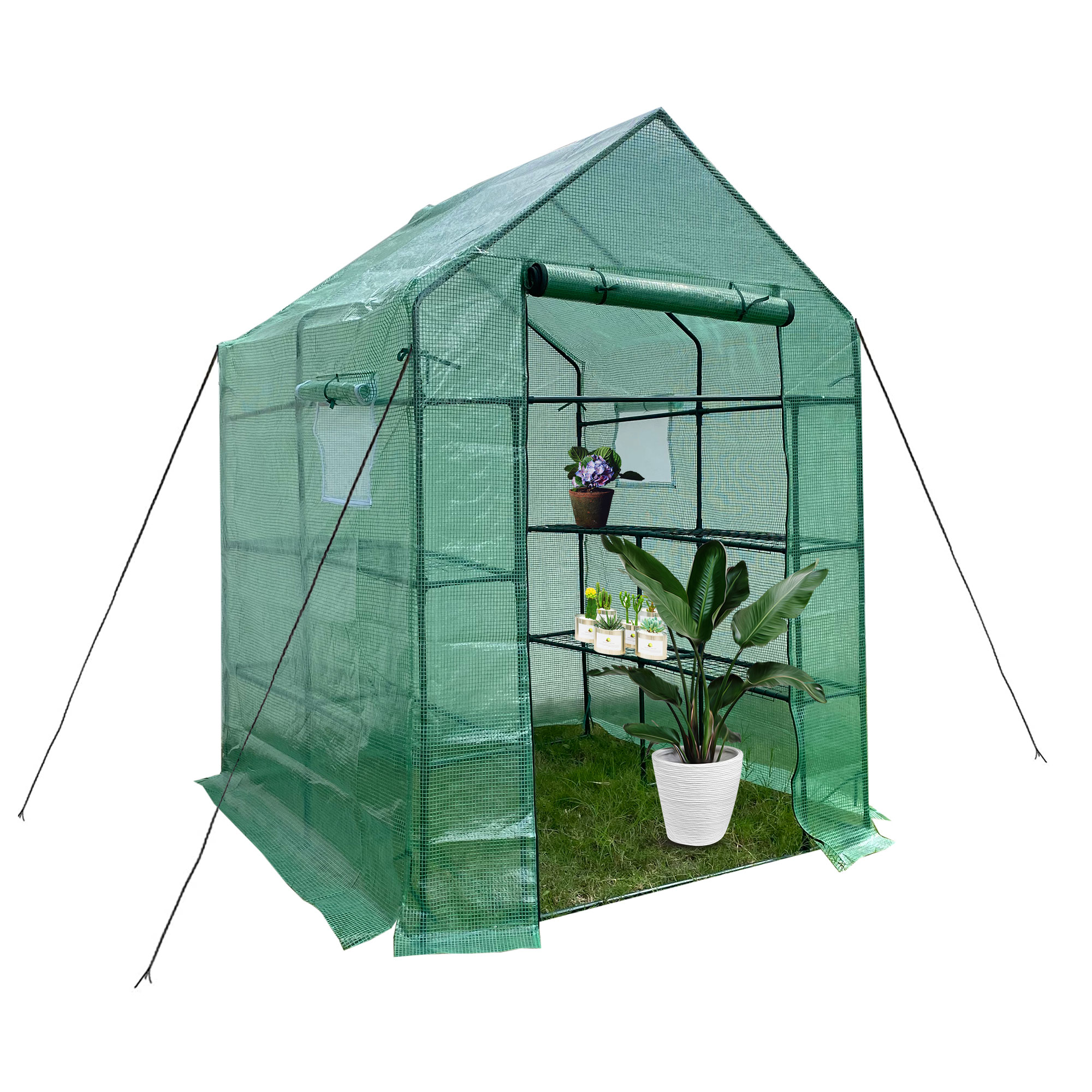 [US Direct] Mini Walk-in Greenhouse Indoor Outdoor -2 Tier 8 Shelves- Portable Plant Gardening Greenhouse (56L x 56W x 76H Inches), Grow Plant Herbs Flowers Hot House