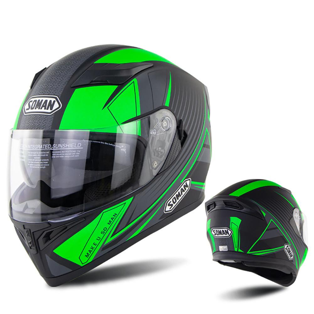 Full Face Motorcycle Helmet Sun Visor Dual Lens Moto Helmet Fluorescent green acceleration_XXL