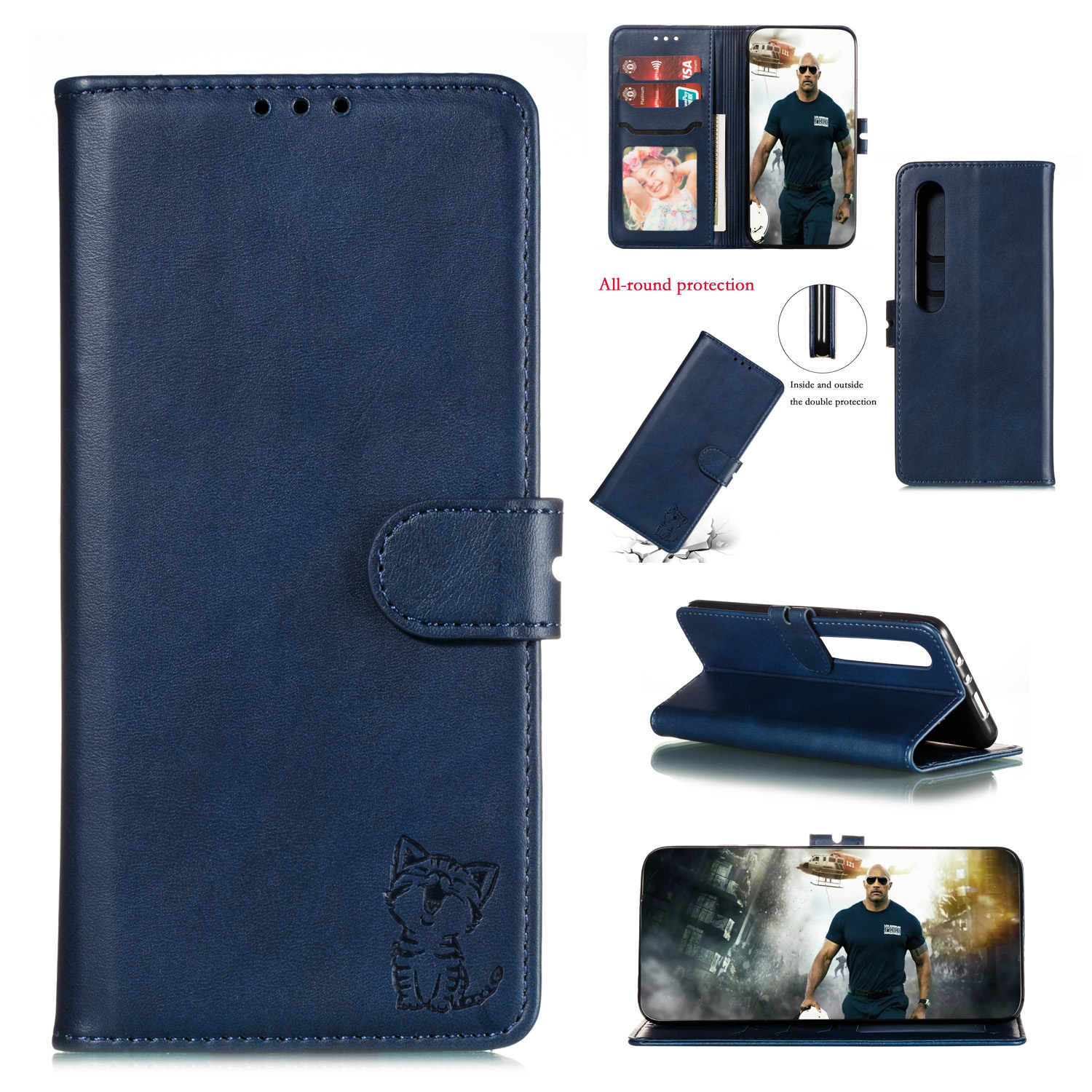 For XiaoMI 10 Pro Mobile Phone Cover PU Leather Front Buckle Smart Shell Anti-fall Phone Case 3 blue