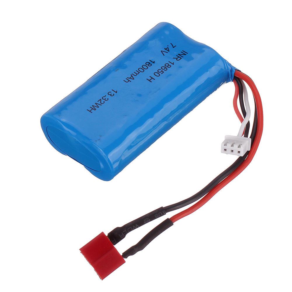 7.4V 1800mAh 10C 2S T Plug Li-ion Battery for RBRC RB1277A 1/12 RC Vehicels Model as shown