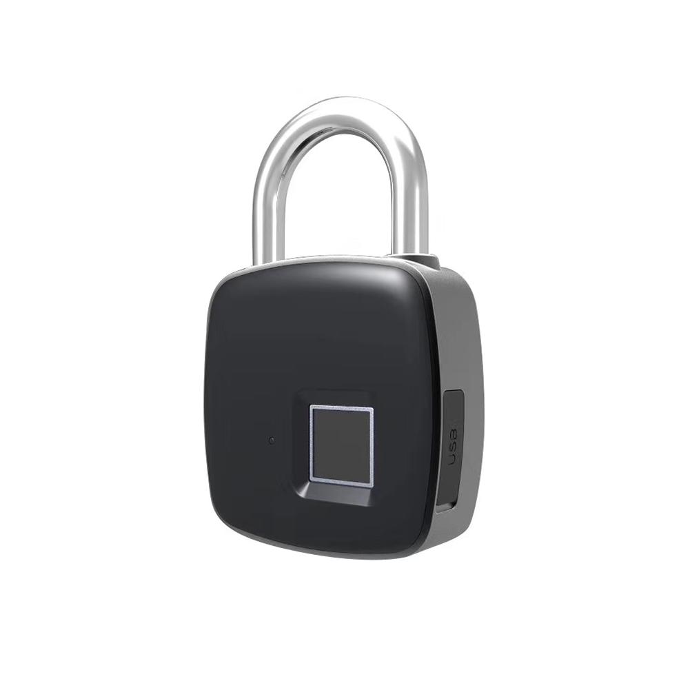 Heavy Duty Zinc Alloy P3+ Fingerprint Lock Bluetooth Padlock Smart Padlock Anti-theft with APP black