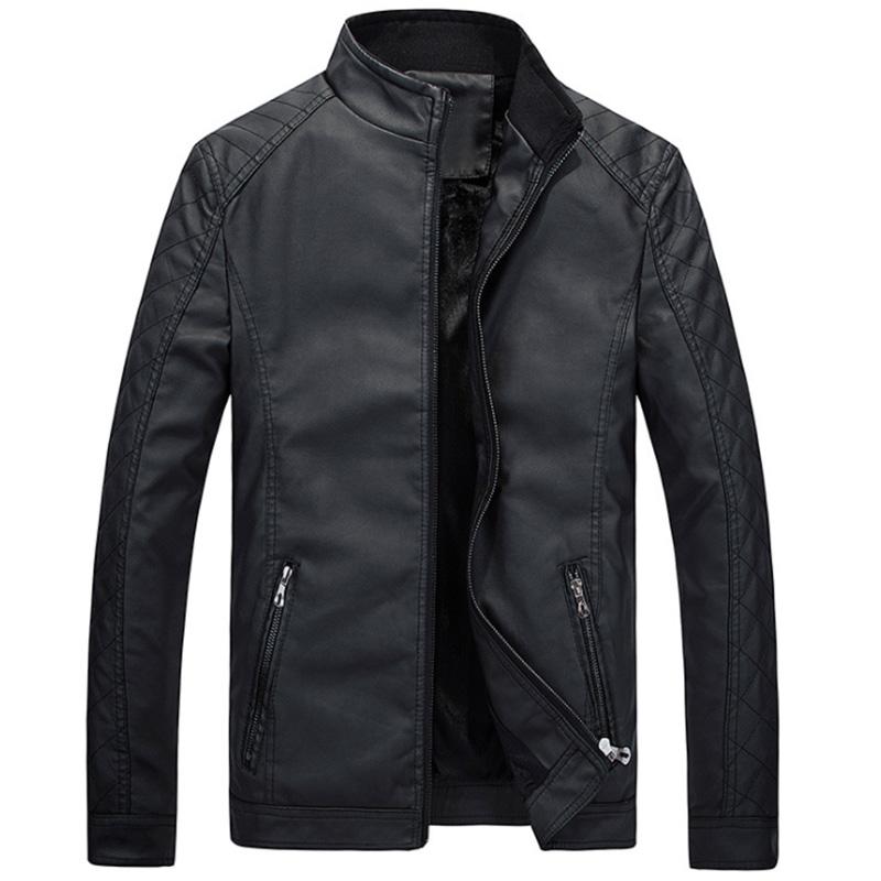 Men Slim Standing Collar PU Jacket Outdoor Casual Thicken Zipper Coat Tops black_L