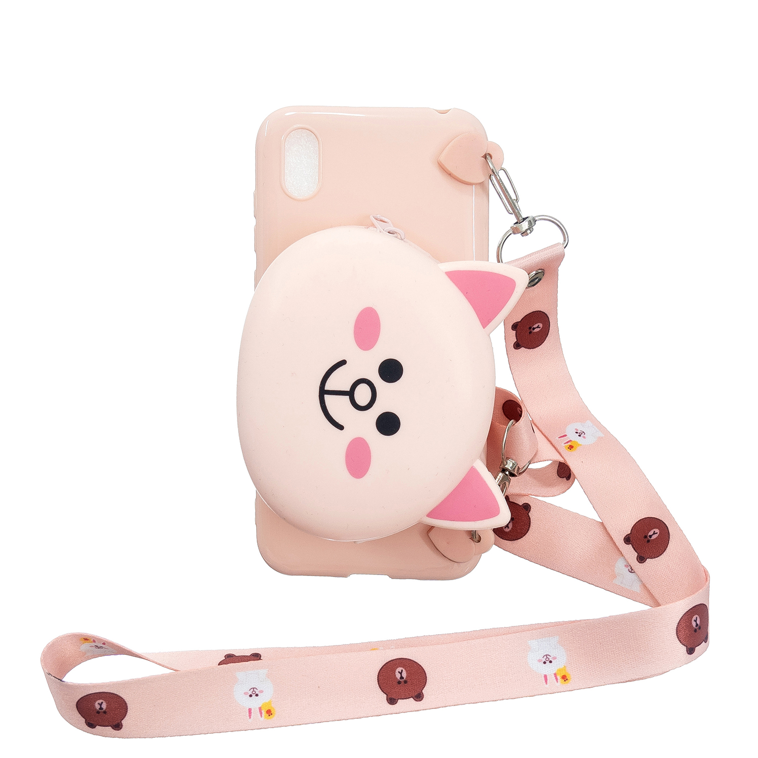 For HUAWEI Y5 2018/Y5 2019 Cellphone Case Mobile Phone Shell Shockproof TPU Cover with Cartoon Cat Pig Panda Coin Purse Lovely Shoulder Starp  Pink