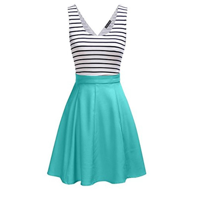 [US Direct] MISSKY Women's Stripe Mini Sleeveless Dress Back Open A-line Casual Dress Green