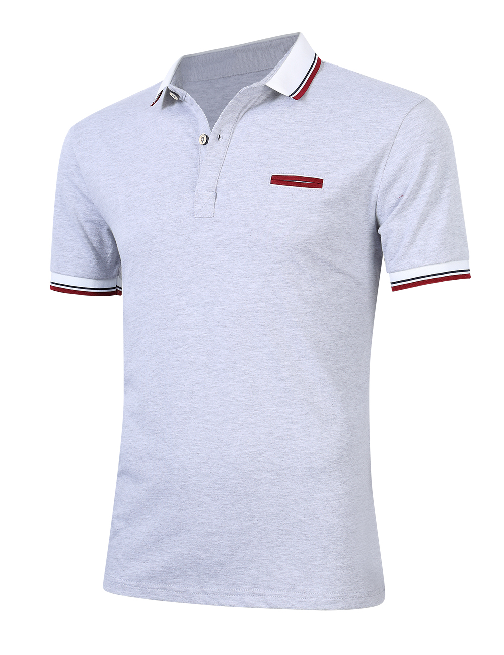 [US Direct] Young Horse Men Cotton Contrast Lapel Short Sleeve Slimming Polo Shirt Grey_5XL
