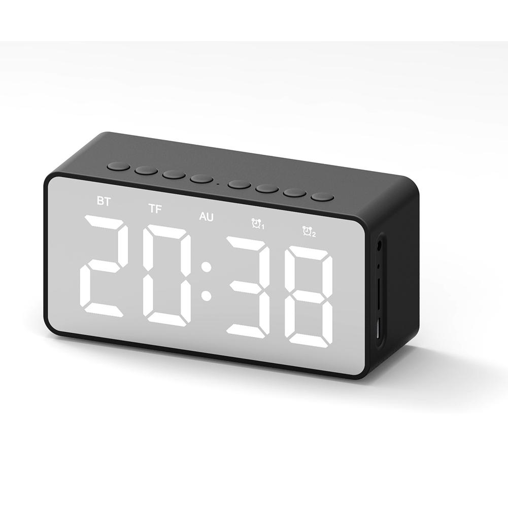 Portable Mini Bluetooth Speaker Desktop Mirror Screen Display Alarm Clock black