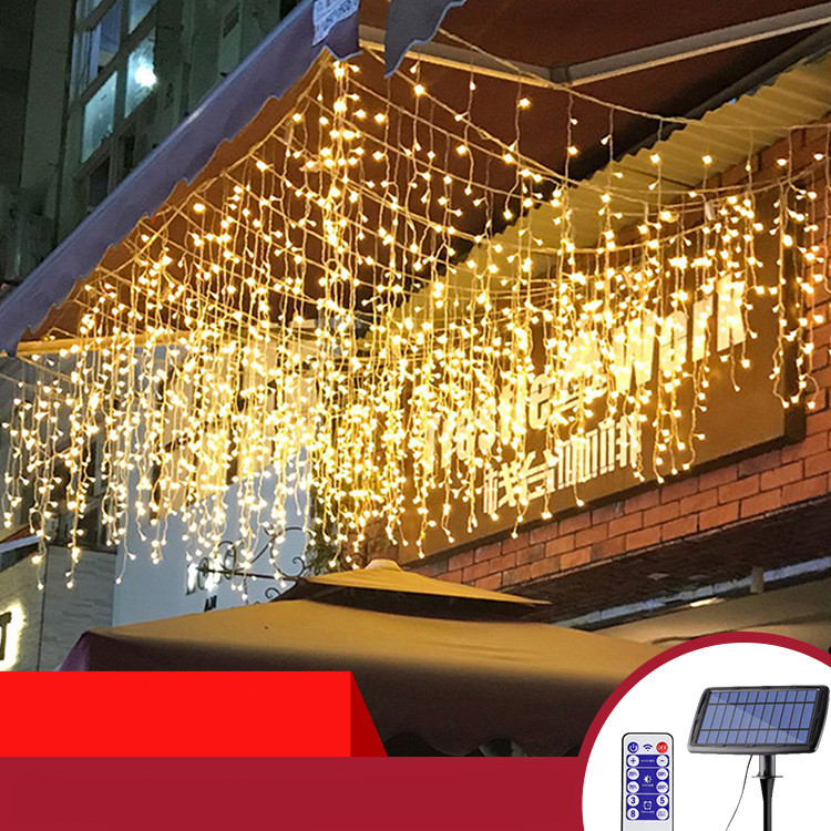 Solar Powered Led Icicle Curtain String Light 4 Modes Adjustable Lamp Decor 3/5 Meters 120LEDs/256LEDs  warm light_5M