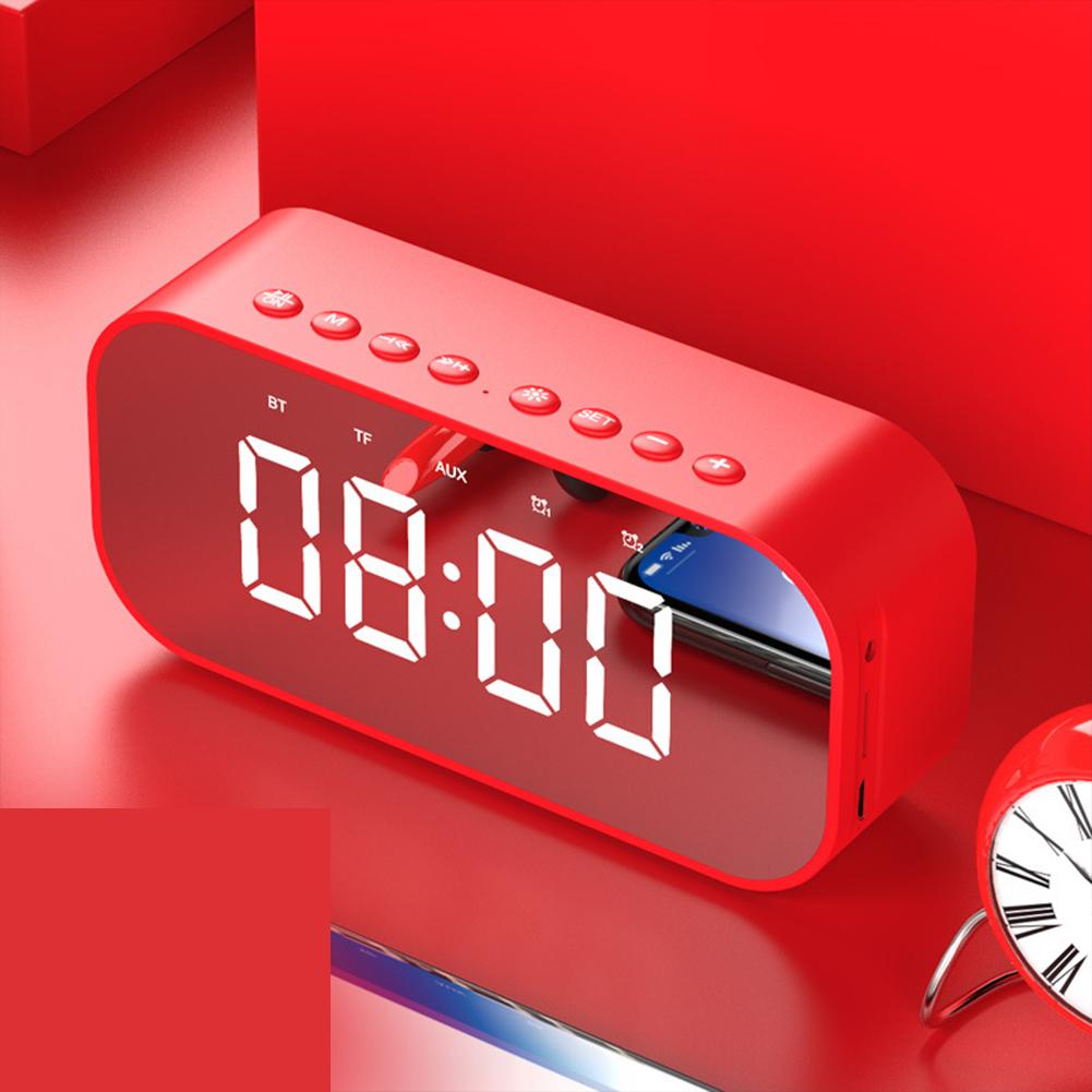 LED Wireless Bluetooth Speaker Mirror Screen Display Alarm Clock red