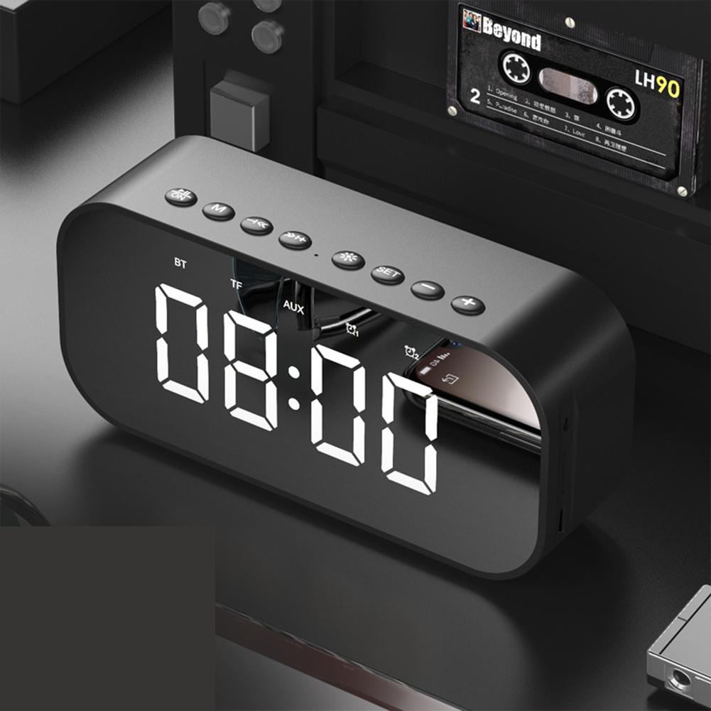 LED Wireless Bluetooth Speaker Mirror Screen Display Alarm Clock black