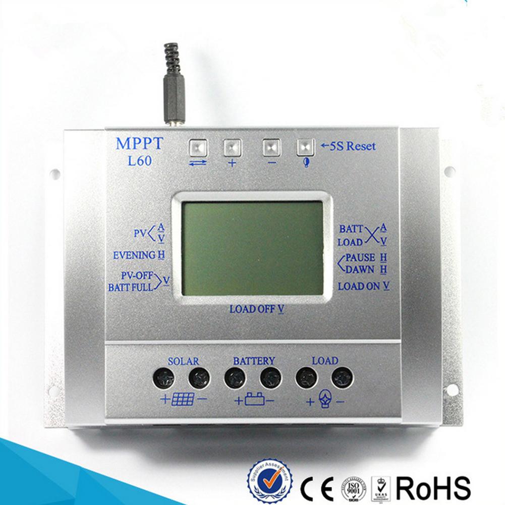 12V 24V 60A MPPT Solar Charge Controller LCD Display Solar Regulator  silver