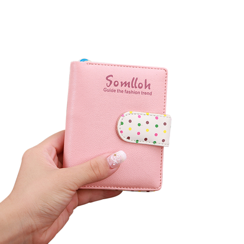 Lady Cute Wave Point Buckle Design Fashion Purse Coins Pouch Pink_814 short