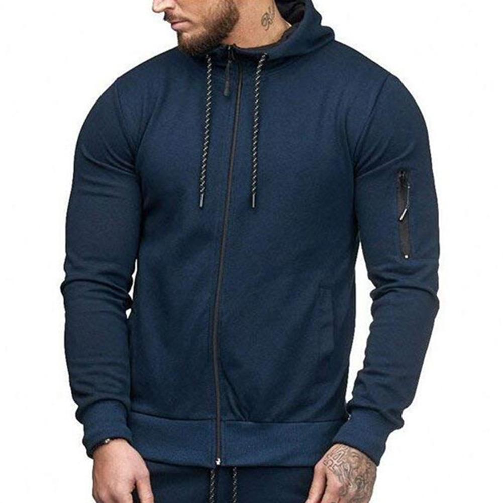 Men Slim Fit Sports Hoodies Zipper Closure Fashion Casual Jacket Sweatshirts Navy_L