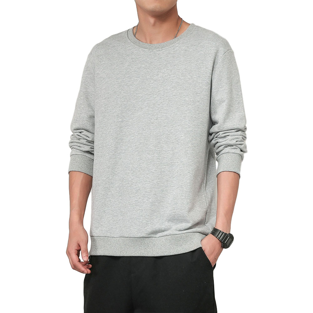 Men Spring Autumn Sweatshirts Casual Fashion Round Collar Coat light grey_XL