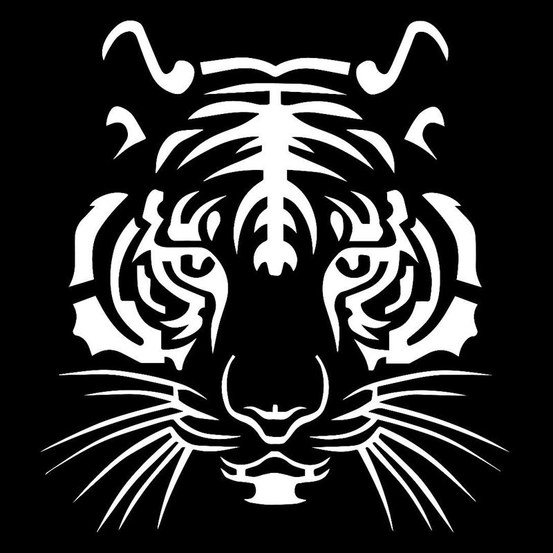 Powerful Tiger Head Car-styling Motorcycle Vinyl Decal Car Sticker White