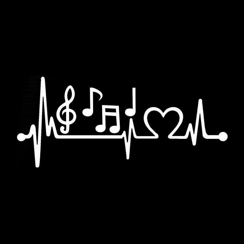 Fashion Music Notes Heartbeat Car-Styling Vinyl Car Sticker White