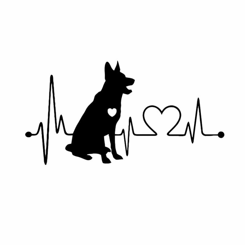 Fashion German Shepherd Cartoon Animal Car Sticker black