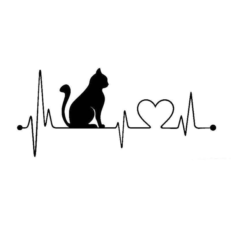 Fashion Cartoon Cat Electrocardiogram Car Sticker Decoration black