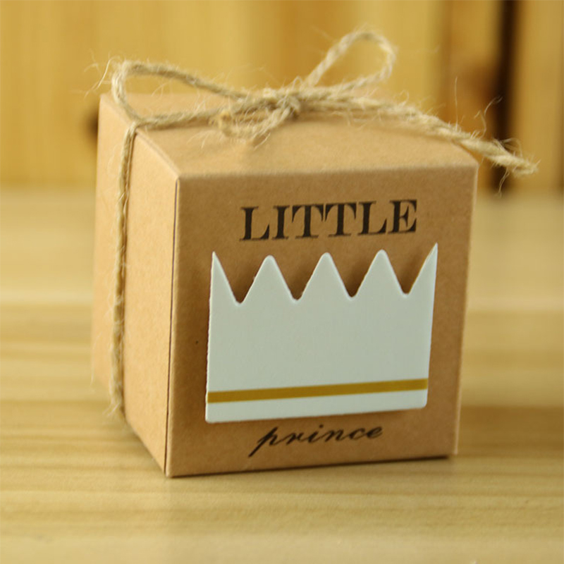 50pcs Baby Shower Candy Box Little Prince/Princess Crown Kraft Boxes Girl Boy Birthday Favors