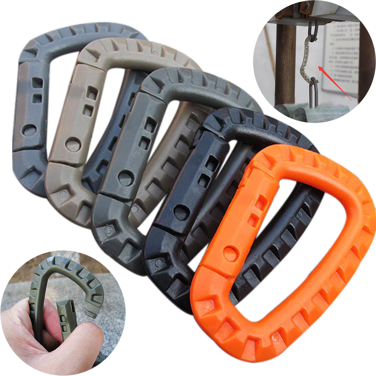 5 Pcs/pack Plastic Climbing Carabiner D-Ring Key Chain Clip Hook Camping Buckle Snap