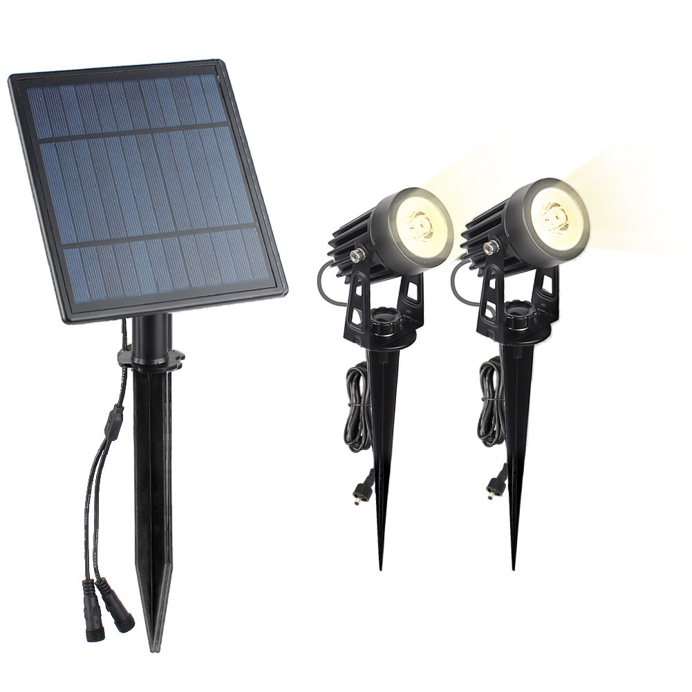 Solar Powered LED Lawn Light Waterproof Outdoor Landscape Patio Garden Lawn Solar Spotlight Lamp 1 to 2 6W warm light (3000K)