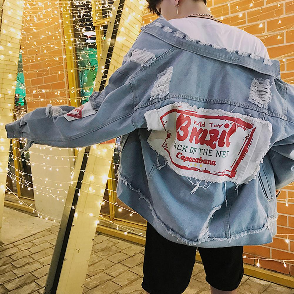 Men Fashion Denim jacket Stitching Cloth Casual Coats   light blue_XXL