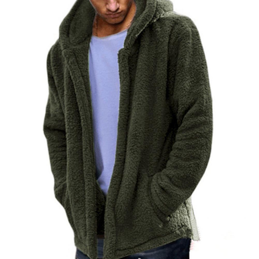 Men Casual Fluffy Fleece Coat Cardigan Hooded Sweatshirt Hoodie Jackets Outwear ArmyGreen_M