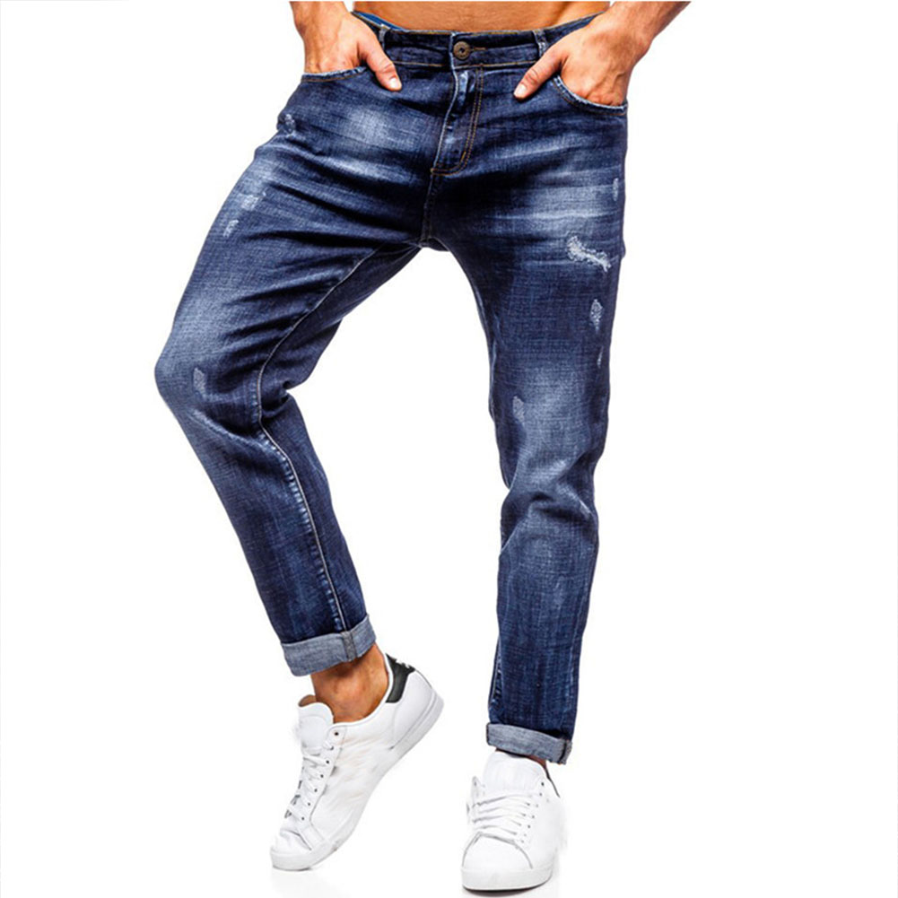 Men Jeans Spring Autumn Blue Ripped Jeans Casual Pants Blue_M