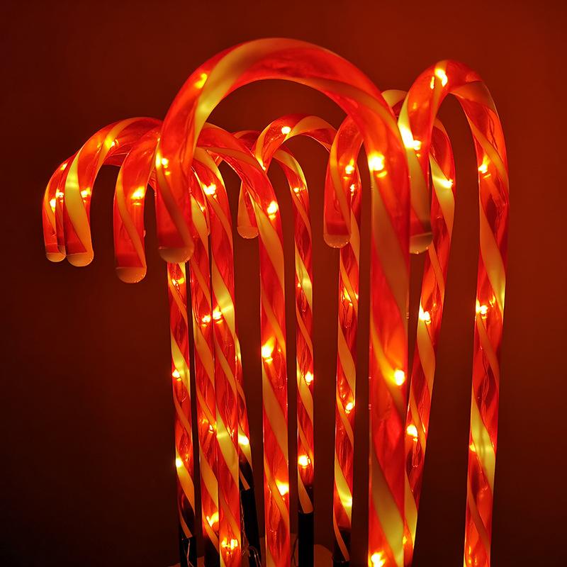 10 Stakes Cane Walkway Light Christmas Decor Crutch Lamp for Home Garden Lamp Yard Path Lamp U.S Plug