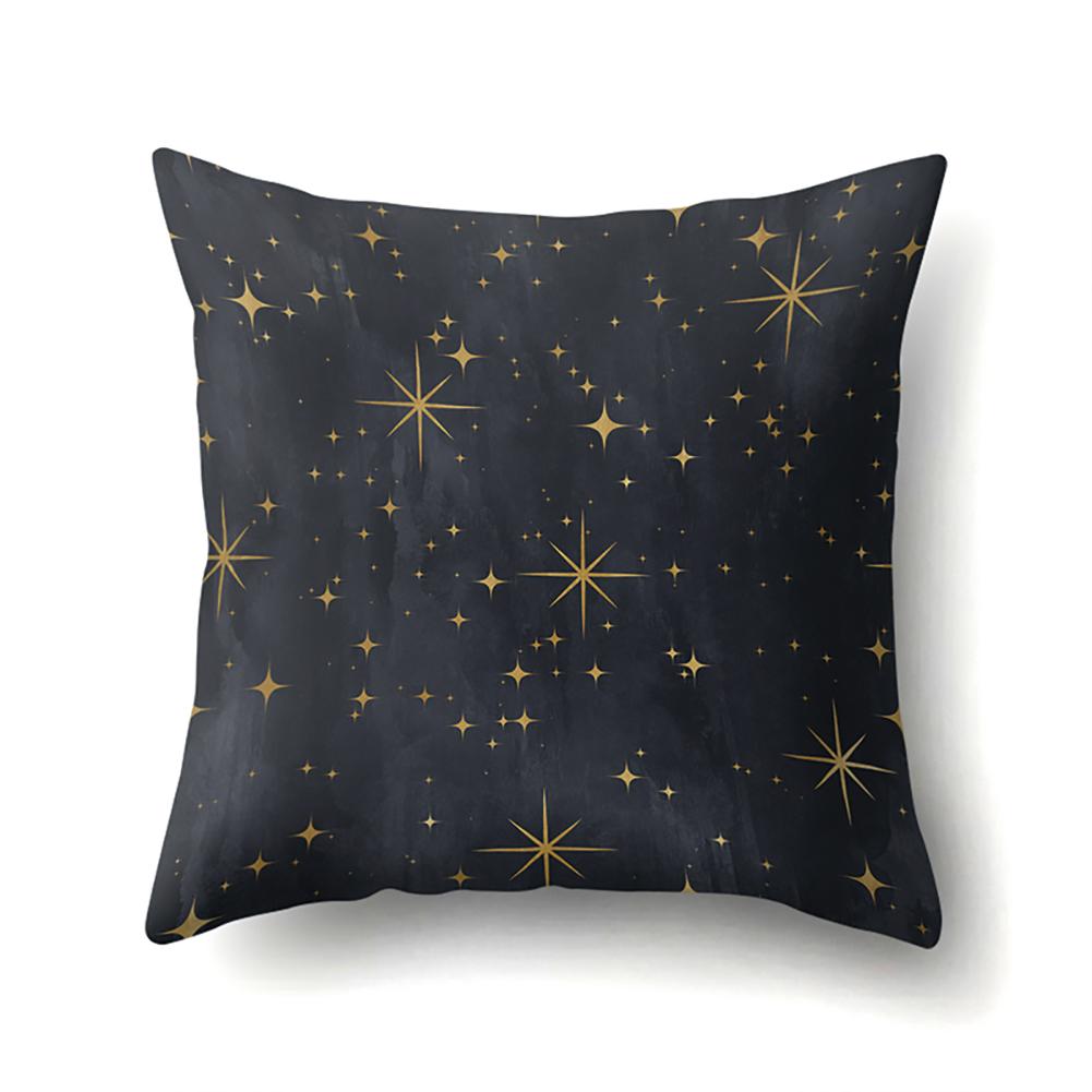 Black Golden Cushion Cover Geometric Lines Stars Pillowcase Car Inner Decor Home Supplies CCA411(13)