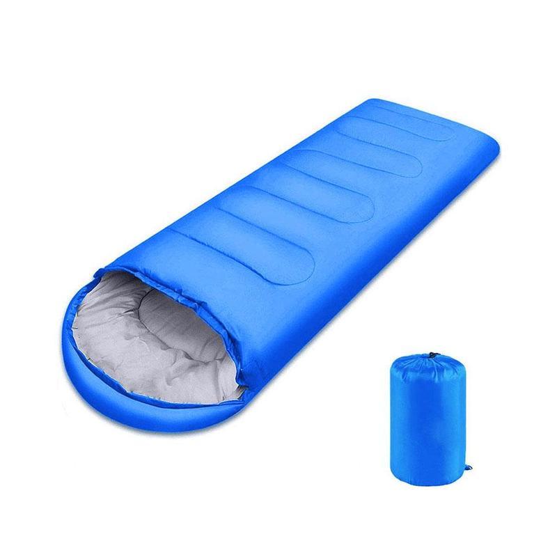 Multifuntional Envelope Sleeping Bag Warm Hooded Summer Sleeping Bags Outdoor Camping Adult Travel Lazy Sleep Bag blue