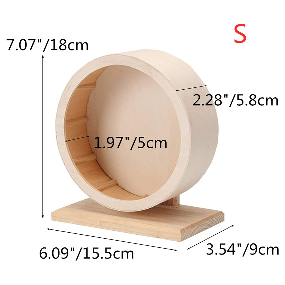 Pets Exercise Wheel Hamster Wooden Mute Running Spinner Wheel Toy for Rat Gerbil Mice Chinchillas Small diameter 15cm
