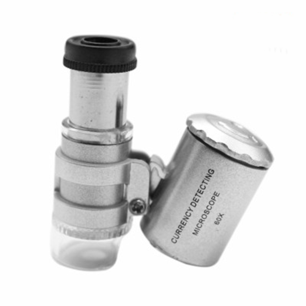 60x Magnification Portable Pocket Microscope Mini LED Currency Detecting Jewellers Loupe English 9882