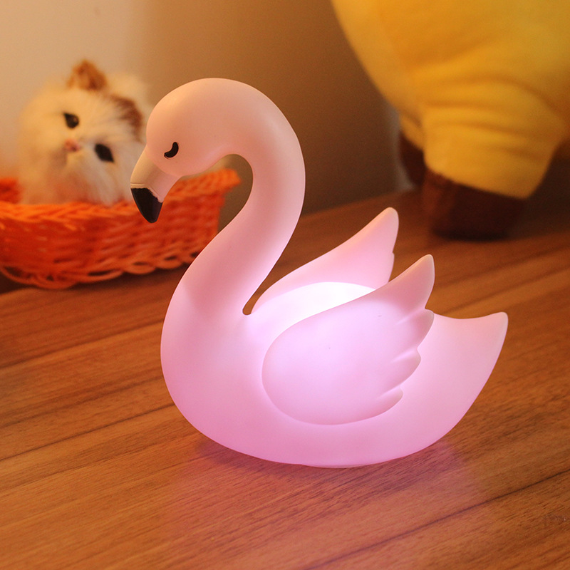 Cute Cartoon Flamingo Shape Night Light Home Party Decoration Lamp for Kids Baby Girl Pink white light_5w
