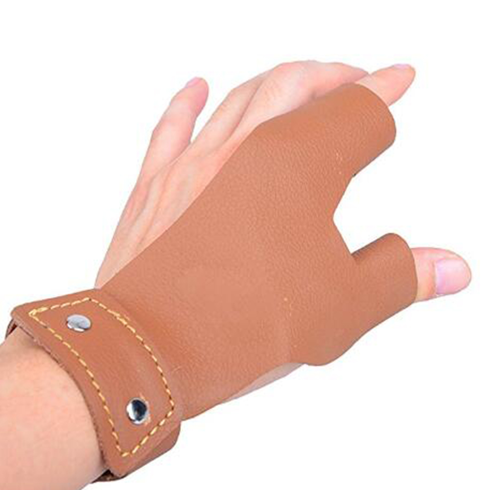 Traditional Bow Shoots Microfiber Hand Protective Gloves Professional Hand Guard brown