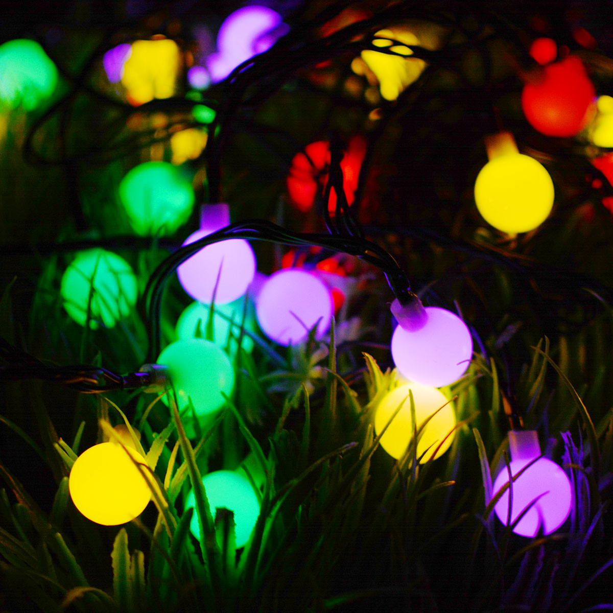 30LEDs/60LEDs 6M/10.5M Solar Powered LED Christmas Light Ball String Light for Home Garden Lawn Party Decor 60 lights white ball-8 mode - color