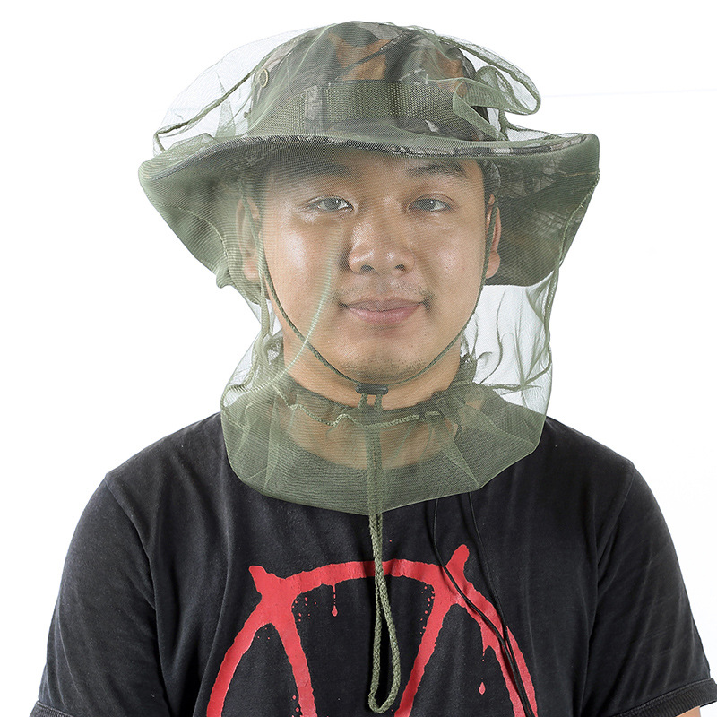 Outdoor Survival Anti Mosquito Bug Net Headgear Fishing Hat With Net Mesh Head Fisherman Hat Breathable Sunshade Mask Green (pack of 4)