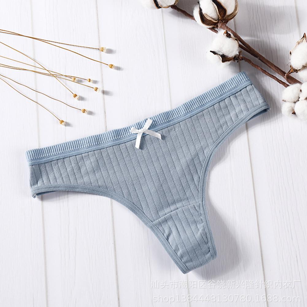Women Cotton Briefs G-string Strip Seamless Low Waist Solid Color Sexy Underwear Panties Dark green_M
