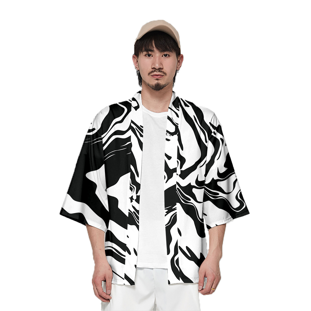 Unisex Fashion Summer Half Sleeve Loose Kimono Thin Sunscreen Robe Clothes V00024-3M25_M