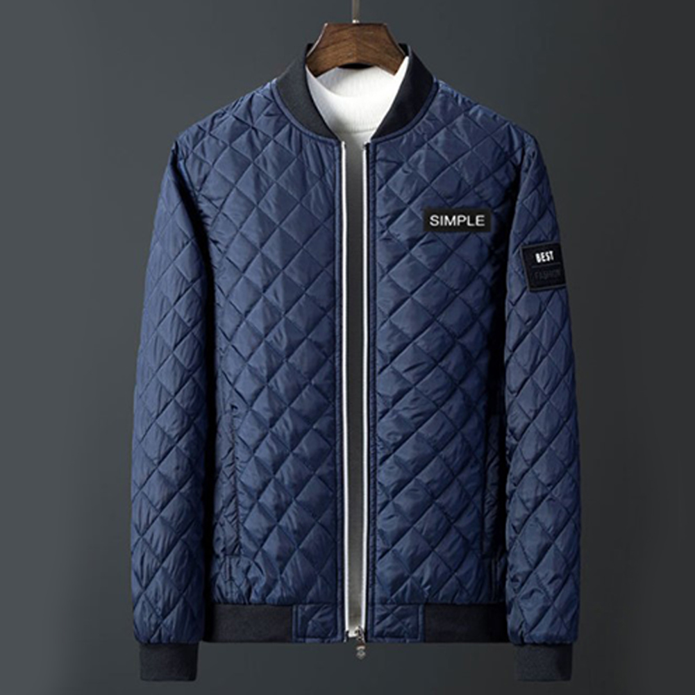 Men Winter Fashion Down Cotton Jacket Collar Jacket Cotton Coat Tops blue_L