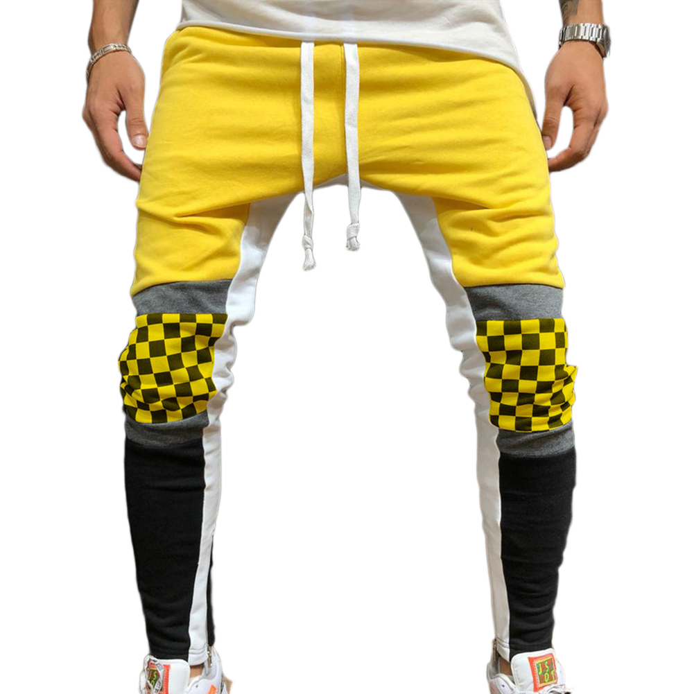 Men Jogger Stadium Gymnasium Runway Colorful Striped Runway Casual Pants yellow_L