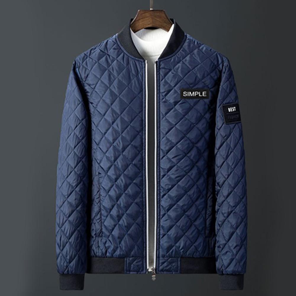 Men Winter Fashion Down Cotton Jacket Collar Jacket Cotton Coat Tops blue_M