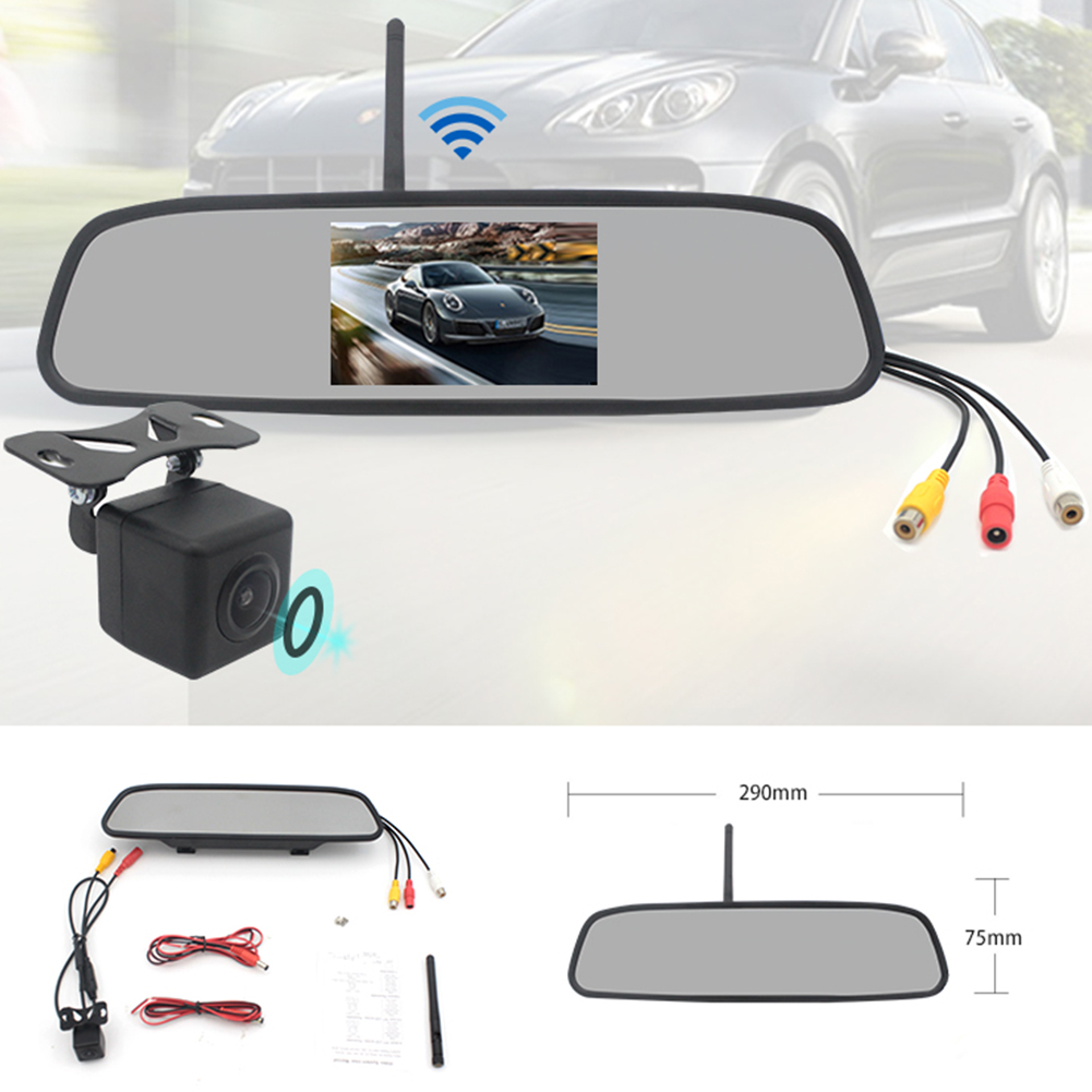 4.3 inches 2.4G Wireless Visual Astern Rearview Mirror Wireless Camera System black