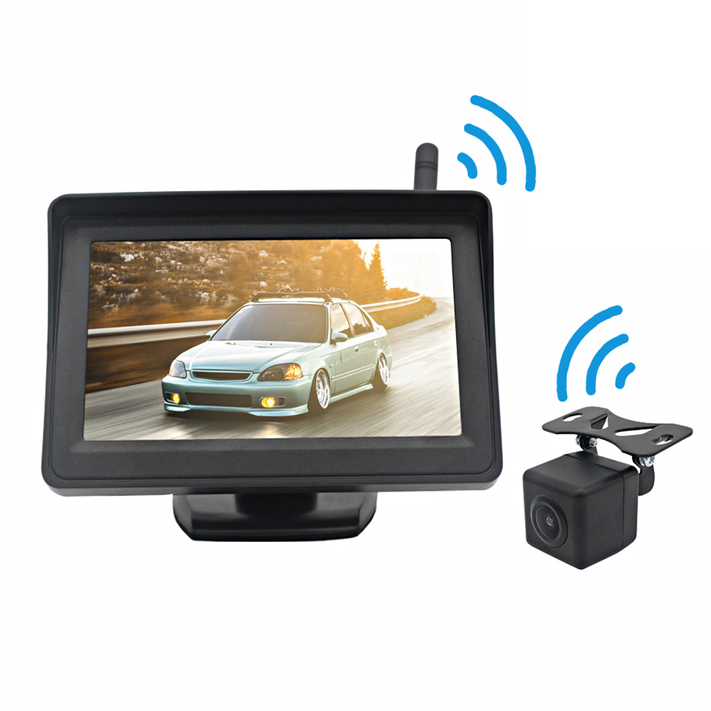 12V Car Universal Built-in Wireless Reversing HD Camera with 4.3-inch Display PZ703407W