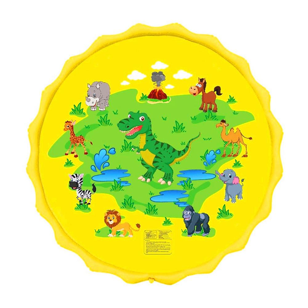 68inch Outdoor Lawn Game Mat Cartoon Pattern Water Spray Toy for Kids Boys Girls 170 yellow dinosaur