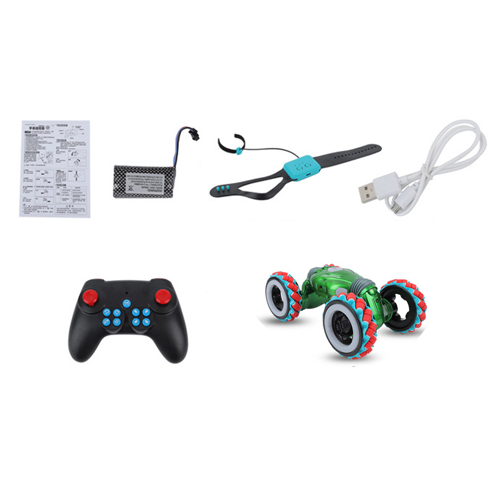 2.4G Remote Control Stunt Car Gesture Sensor Twisted Light Music Dancing RC Car for Kids Toys green