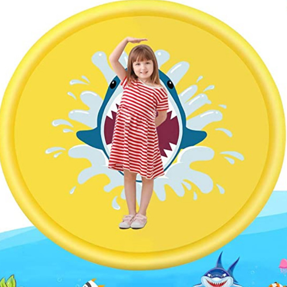 68inch Outdoor Lawn Game Mat Cartoon Pattern Water Spray Toy for Kids Boys Girls 170 yellow shark